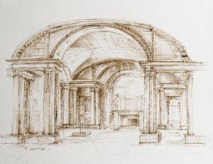 Dessin d'architecture Salle de Cariatides Paris