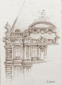 Pavillon de Flores - Façade du Louvre Dessin à la plume