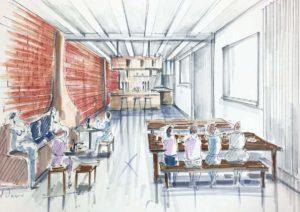 Visuel d'un restaurant dessin en perspective