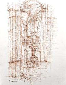 Dessin architecture d'intérieure, église St Eustache Paris