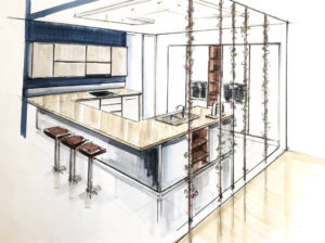 Design kitchen sketch Rough