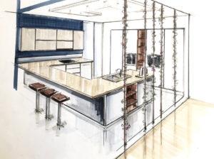 Design kitchen sketch Rough