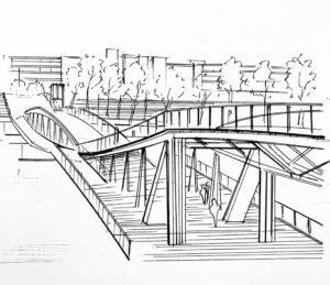 Pont Simone de Beauvoir Paris 13 Dessin du pont au feutre Promarker