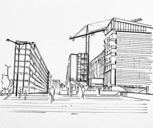 Illustration architectural, Quartier de la Gage Paris 13